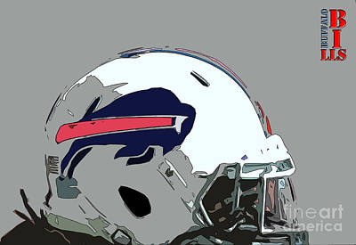 Digitalart Painting - Buffalo Bills Football Team Ball And Typography by Pablo Franchi