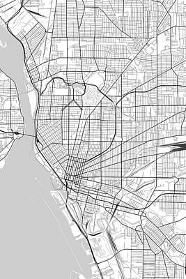 Buffalo Digital Art - Buffalo New York Usa Light Map by Jurq Studio