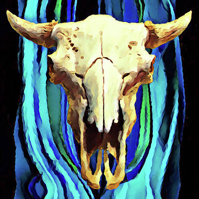 Digital Art - Buffalo Skull by Gary Grayson