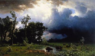 Great Outdoors Painting - Buffalo Trail  The Impending Storm by Albert Bierstadt
