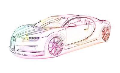 Ultimate Luxury Digital Art - Bugatti Chiron by PixBreak Art