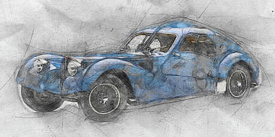 Transportation Mixed Media - Bugatti Type 57 - Atlantic 1 - 1934 - Automotive Art - Car Posters by Studio Grafiikka