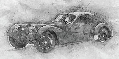 Mixed Media Royalty Free Images - Bugatti Type 57 - Atlantic - 1934 - Automotive Art - Car Posters Royalty-Free Image by Studio Grafiikka