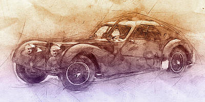 Transportation Mixed Media - Bugatti Type 57 - Atlantic 2 - 1934 - Automotive Art - Car Posters by Studio Grafiikka
