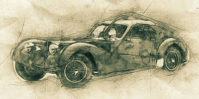 Transportation Mixed Media - Bugatti Type 57 - Atlantic 3 - 1934 - Automotive Art - Car Posters by Studio Grafiikka