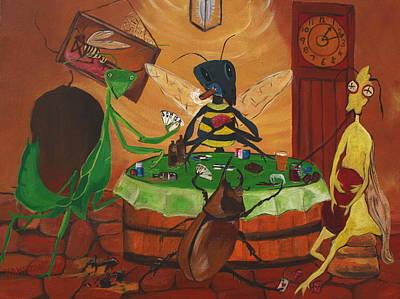 Bugs Playing Poker Art Print by Sarah Hamilton