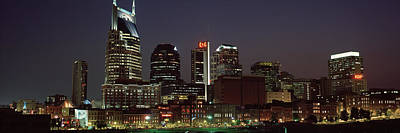 Davidson County Photograph - Buildings Lit Up At Dusk, Nashville by Panoramic Images