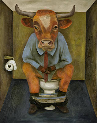 Shit Wall Art - Painting - Bull Shitter by Leah Saulnier The Painting Maniac