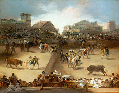 Cityscape Painting - Bullfight In A Divided Ring by Francisco Goya