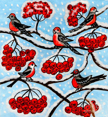 Painting - Bullfinches On Ash Tree, Painting by Irina Afonskaya