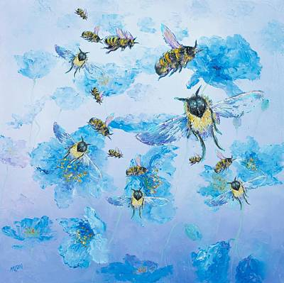 Painting - Bumble Bees by Jan Matson