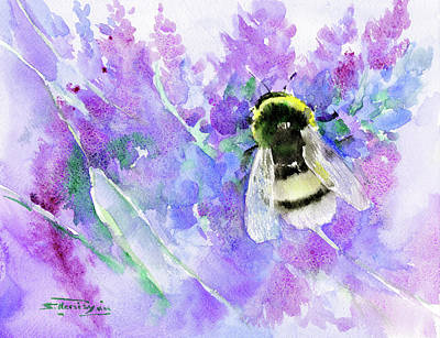 Print Making Painting - Bumblebee And Lavender by Suren Nersisyan