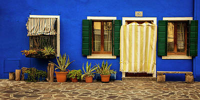 Door Photograph - Burano Blue by Andrew Soundarajan