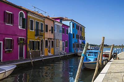 Green Houses Photograph - Burano Colorful Italian Island by Melanie Viola