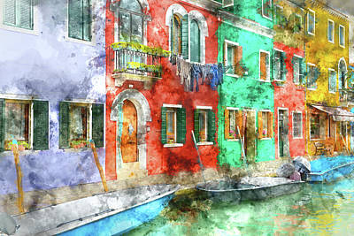 Venice Photograph - Burano Italy Homes Near Venice Italy by Brandon Bourdages