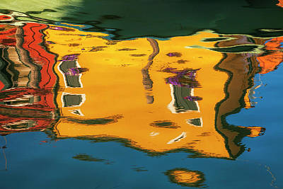 Photograph - Burano Reflections by Andrew Soundarajan