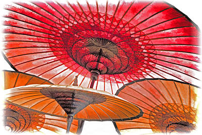 Burmese Parasols Art Print by Dennis Cox WorldViews