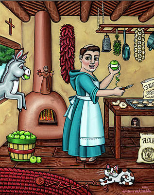 Saint Of Cooks Painting - Burritos In The Kitchen by Victoria De Almeida