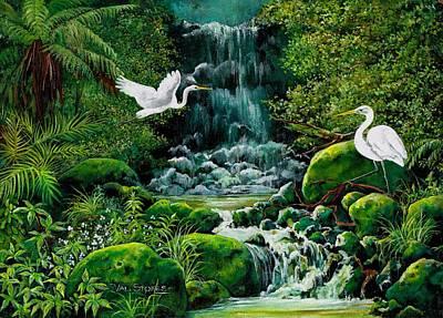 Bush Waterfall Art Print by Val Stokes