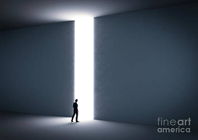 Abstract Graphics - Businessman about to cross the entrance to the light. by Michal Bednarek