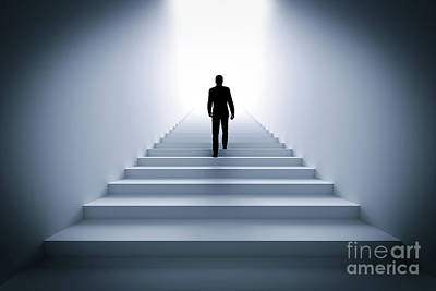 Stairs Photograph - Businessman Climbing The Stairs Towards Light. by Michal Bednarek