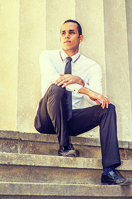 Photograph - Businessman Thinking Outside by Alexander Image