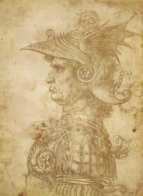 Closeup Drawing - Bust Of A Warrior In Profile by Leonardo da Vinci