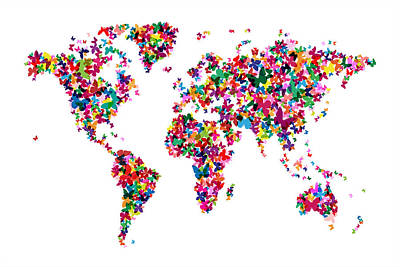Butterflies Digital Art - Butterflies Map Of The World by Michael Tompsett