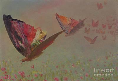 Flutter Painting - Butterflies With Riders by Albert Bierstadt
