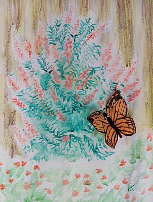 Wall Art - Mixed Media - Butterfly Bush by Helen Krummenacker
