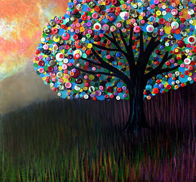 Art Print featuring the painting Button Tree 0004 by Monica Furlow