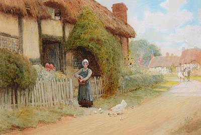 Arthur Claude Strachan Painting - By A Cottage by Arthur Claude
