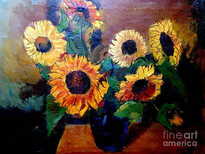 Painting - By Edgar A. Batzell Sunflowers by Expressionistart studio Priscilla Batzell
