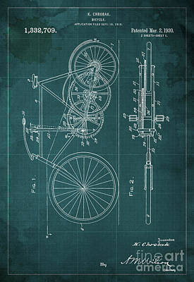 Bike Drawing - Bycicle Patent  1920 by Pablo Franchi