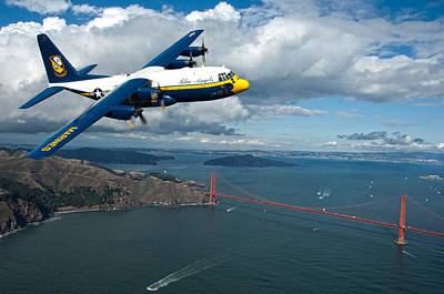 Male Painting - C-130 Hercules Flys Over San Francisco by Celestial Images