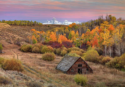 Photograph - Cabin Under The Tetons by Leland D Howard