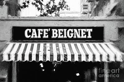 Photograph - Cafe Beignet - Digital Painting Bw by Scott Pellegrin