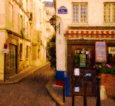 Cafe On The Rue Des Ursins Art Print