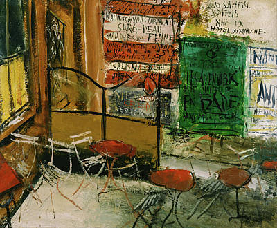 Painting - Cafe Terrace With Posters by Saeki Yuzo