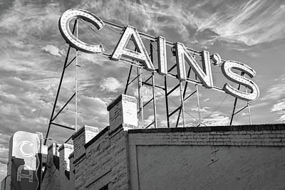 Photograph - Cains Ballroom Music Hall - Downtown Tulsa Cityscape Black And White by Gregory Ballos