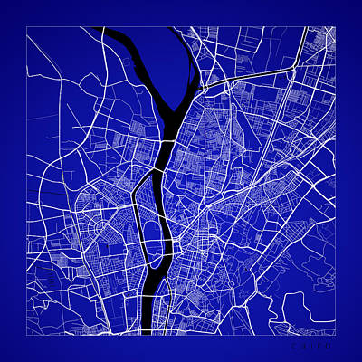 Egypt Digital Art - Cairo Street Map - Cairo Egypt Road Map Art On Color by Jurq Studio
