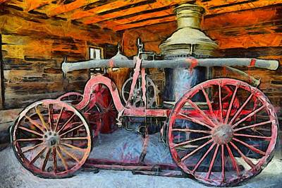 Fire Department Painting - Calico Ghost Town Fire Engine by Barbara Snyder