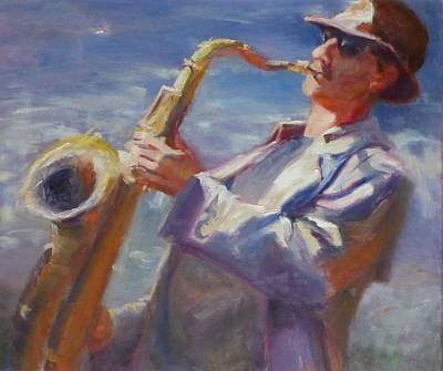 Painting - California Saxophone Player by Irena Jablonski