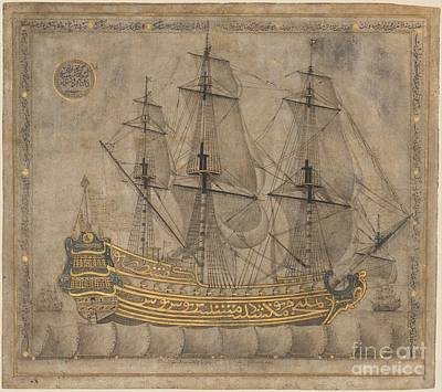 Yacht Painting - Calligraphic Galleon by Celestial Images