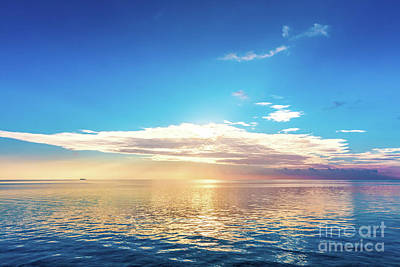 Reflecting Photograph - Calm Ocean At Sunset. Dramatic Sky by Michal Bednarek