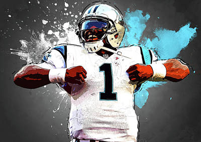 Cam Newton Digital Art - Cam Newton by Semih Yurdabak
