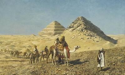 Caravan Painting - Camel Caravan Amid The Pyramids, Egypt by Edwin Lord Weeks