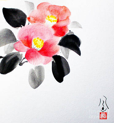 Painting - Camellia / Tsubaki by Fumiyo Yoshikawa