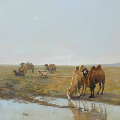 Camel Wall Art - Painting - Camels Along The River by Chen Baoyi