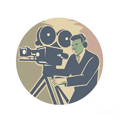 Cameraman Moviemaker Vintage Camera Retro Art Print by Aloysius Patrimonio